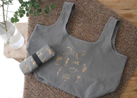 やわらかい布のエコバッグ マチ広めコンビニ用「古道具と花」