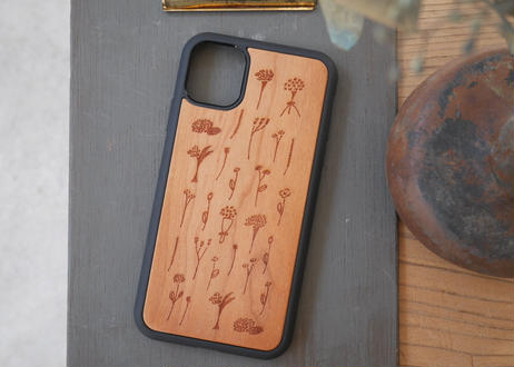 【iPhone11】ウッド衝撃吸収ケース『花』
