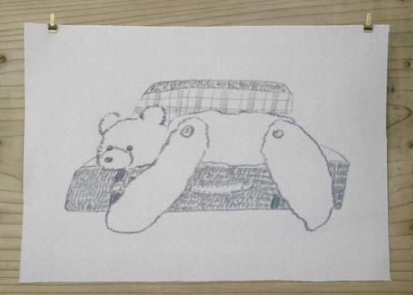A4サイズ布ポスター『トランクから脱走するクマ』