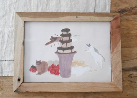 A4サイズ 布ポスター『 チョコレートフォンデュになる猫』