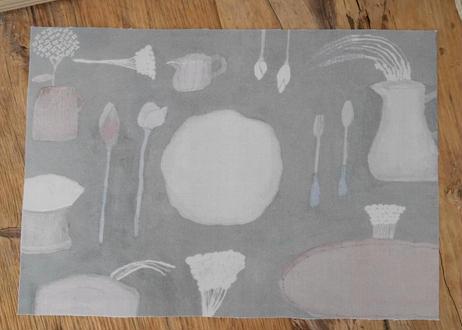 A4サイズ布ポスター『晩餐より花』