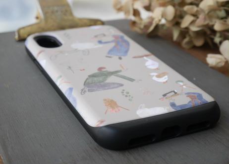 【iPhoneX/ XS】スライド式ケース『シュールな食べ物と人』