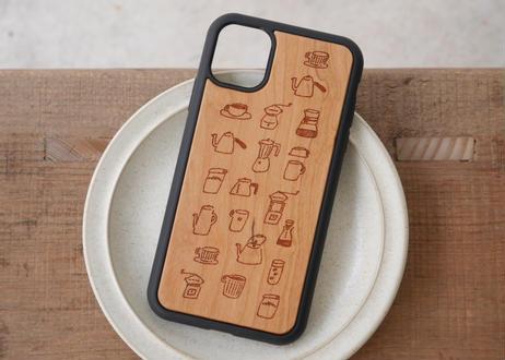 【iPhone11】ウッド衝撃吸収ケース『コーヒーのある生活』