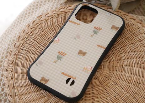 【オーダーした翌月中旬にお届け】iPhoneケース各種「クマとギンガムチェック」