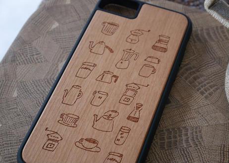 【iPhone6/6S/7/8/SE第2世代 共通】衝撃吸収ウッドケース『コーヒーのある生活』