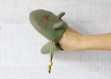 【YOMORU】羊毛フェルト「耳の生えたキッチンミトン」(小) ※左右兼用(商品コード:TG430267)