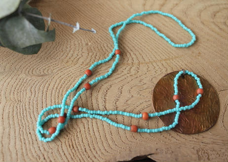 【Ery】copper & glass beads necklace <銅ネックレス>