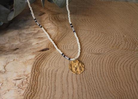 【Ery】blass&glass beads<真鍮ネックレス>