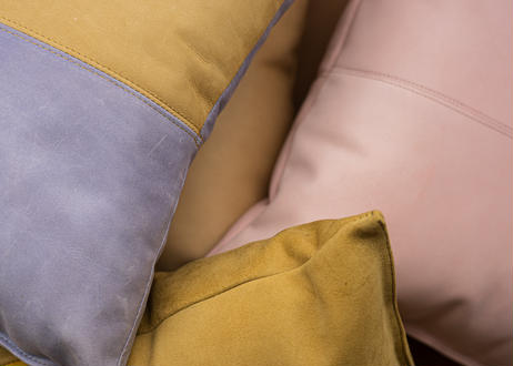 LEATHER CUSHION  ( pink )