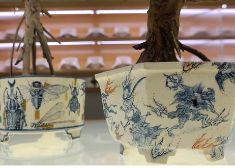 七代渋草柳造/Shibukusa Ryuzo Pottery  染付百鬼夜行画樹鉢