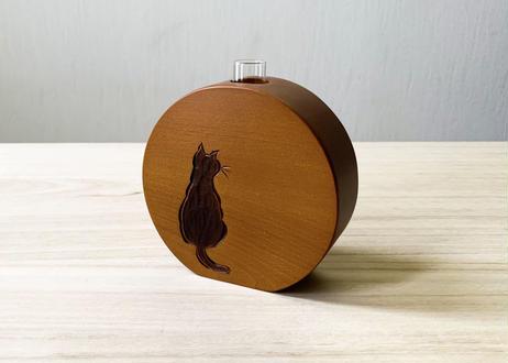 平丸花瓶【猫】茶