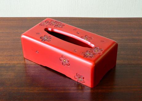 ティッシュBOX【桜】赤 深彫