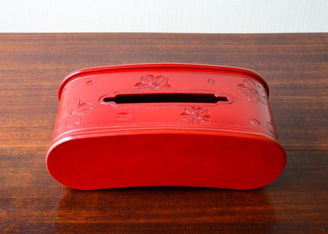 豆型ティッシュBOX【桜】赤 線彫