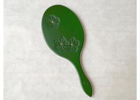 楕円手鏡【桜】緑 深彫