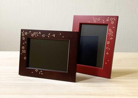 写真立て【桜】茶/赤/青 線彫り