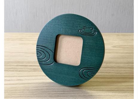 丸写真立て【カエル】緑/青