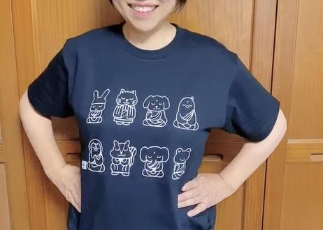 仏像どうぶつTシャツ(カラー生地×白プリント)