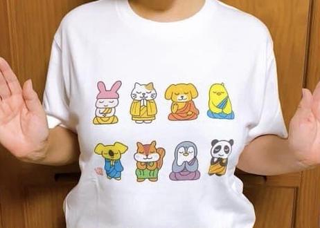 仏像どうぶつTシャツ(白生地×フルカラープリント)
