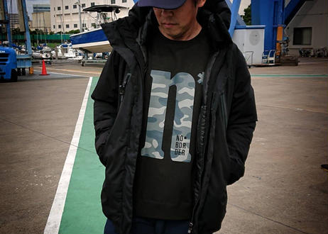 【No border squad × 釣日和 】コラボ  オリジナルカモフラスウェットシャツ (トレーナータイプ) ー BLACK