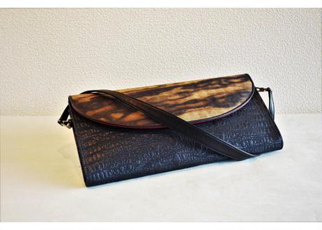 黒柿孔雀杢・漆織クラッチバッグ