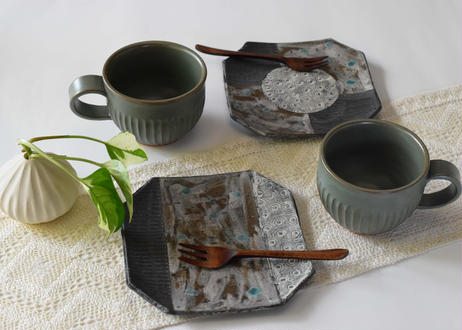 黒陶パッチワーク皿/cocochi
