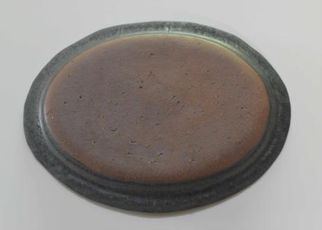 黒鉄釉 楕円皿/市野吉記