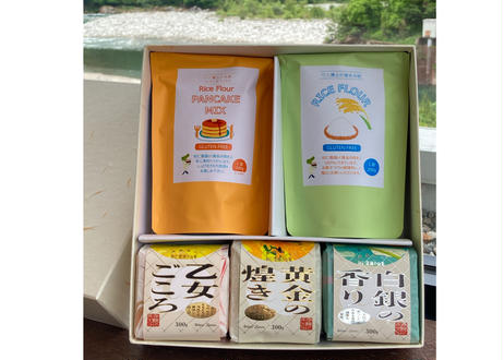 【令和3年産事前予約】WANI HAKASE GIFT(米粉とパンケーキミックス&3種のお米のセット)