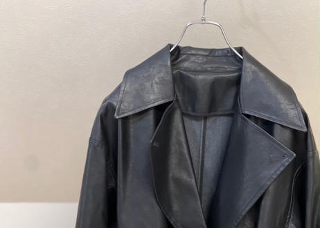 fake leather belted coat