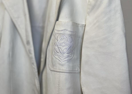 80-90s loewe anagram leather jacket