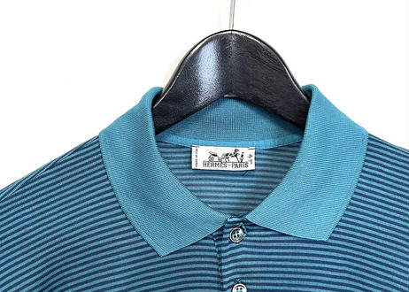hermes turquoise blue silk knit polo