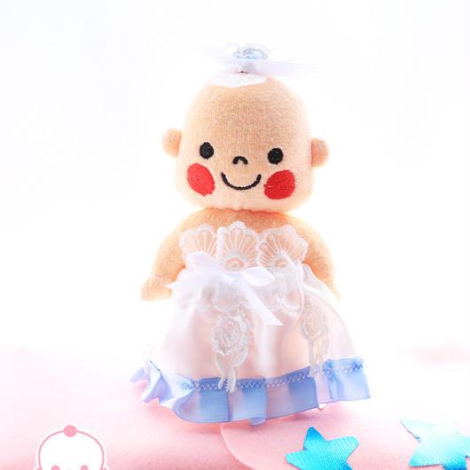 ホワイトローズドレス(ぷんちゃんぬいぐるみ用)ライトブルー