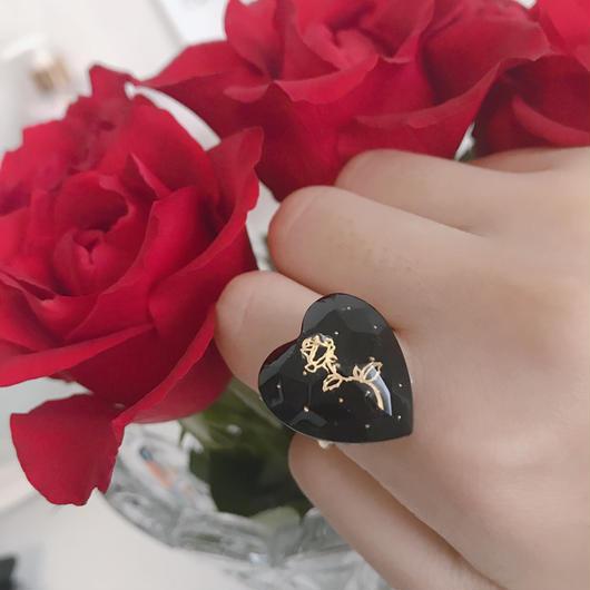 薔薇とドットのハートリング  B
