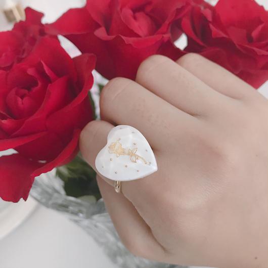 薔薇とドットのハートリング  W