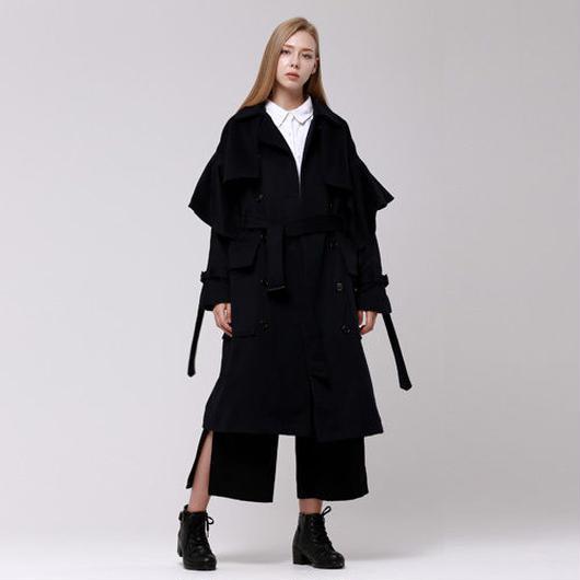 (注文製作) WunderGeist handkerchief sleeve wool トレンチコート (Navy)