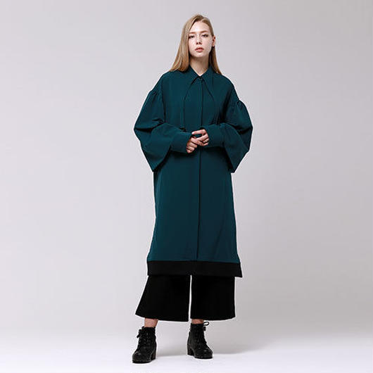 (注文製作) WunderGeist puff sleeve long shirt ワンピース (Green)