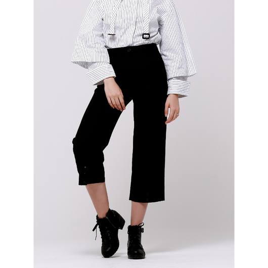 (注文製作) WunderGesit shirt collar detail crop wide pants (Black)