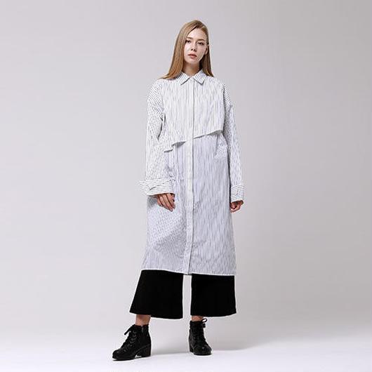 (注文製作) WunderGeist overfit layered long blouse (Stripe)