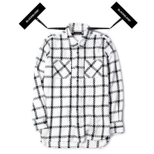 Blackblond BBD Plaid Tweed Shirt (White)