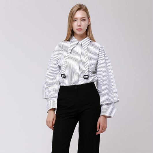 (注文製作) WunderGeist cape sleeve buckle blouse (Stripe)
