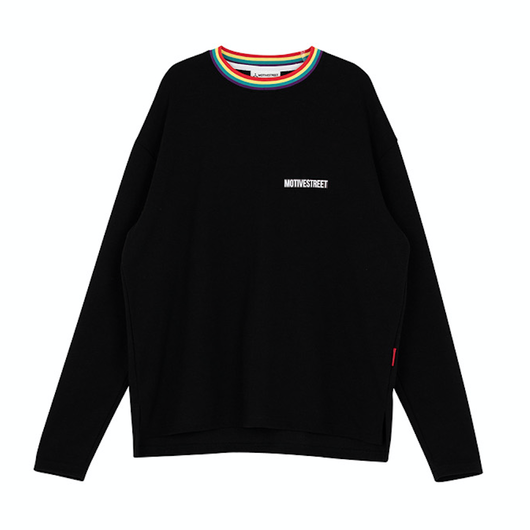 Motivestreet RAINBOW NECK POINT LSV TEE (Black)