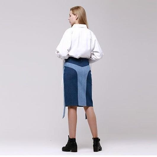 (注文製作) WunderGeist side denim skirt (Blue)