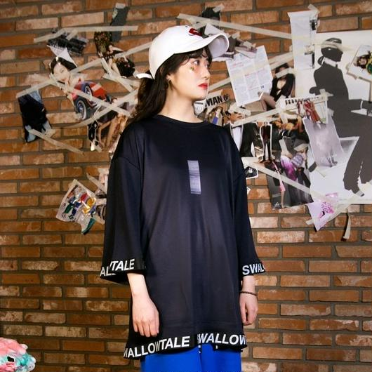 Swallowtale Strapped Mesh T-shirts(Black)