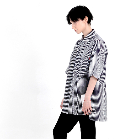 BY.L  OVERSIZE NOTCHILD ST SHIRT (Navy)