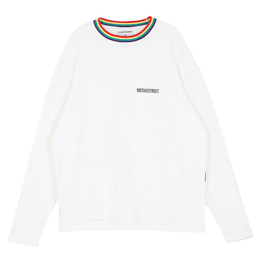 Motivestreet RAINBOW NECK POINT LSV TEE (White)
