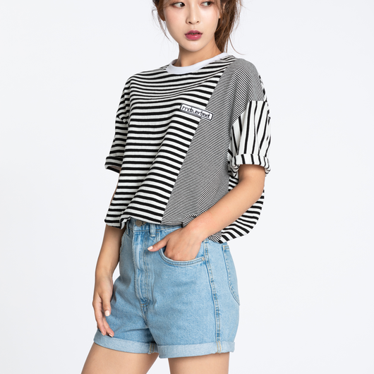 Motivestreet STRIPE MIX OVERFIT TEE (Black)