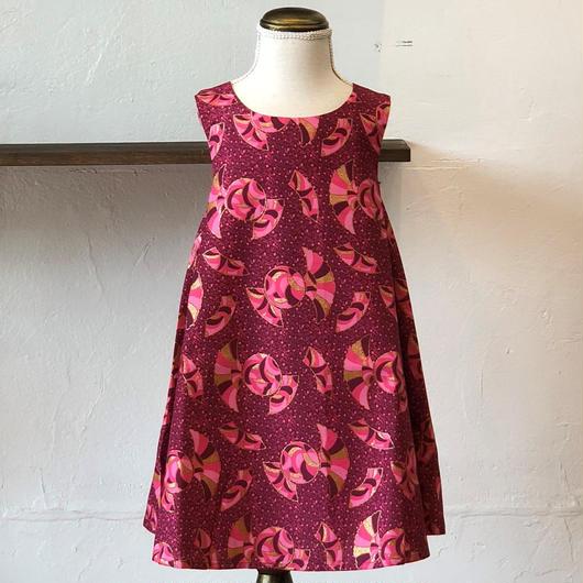 北欧ブランドプリント柄ワンピース Kids dress with lining Golden Fan print