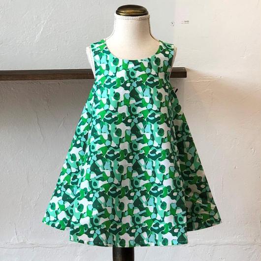 北欧ブランドプリント柄ワンピース Suvi bebe 1172052 Kids dress with lining Green Drop print