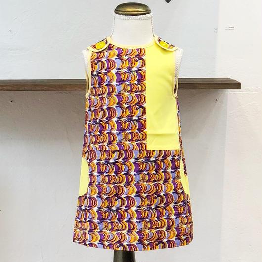 北欧ブランドプリント柄ワンピース Emilia bebe 1272050 Sleeveless dress in Laine print and yellow block color