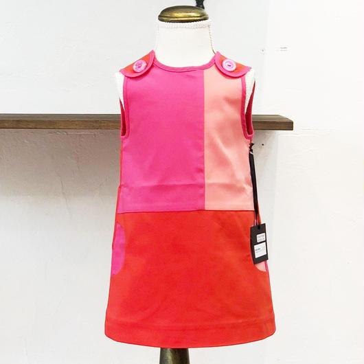 北欧ブランドワンピース Emilia bebe 1172270 Kids Sleeveless red dress in block colors