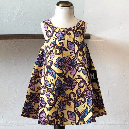 女の子用北欧ブランドプリント柄ワンピース Kids dress with lining Pink Flower print